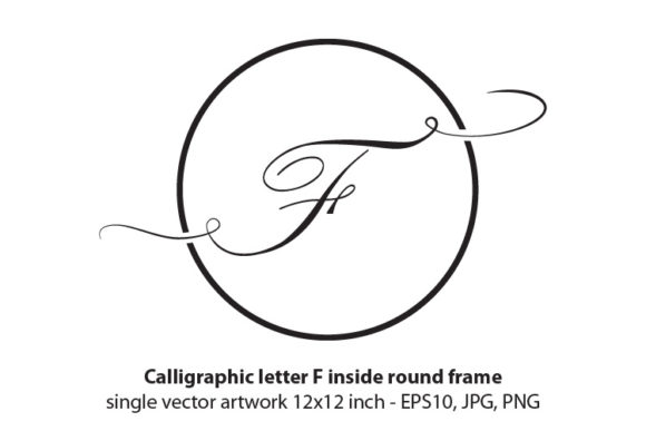Download Free Calligraphic Letter F Inside Round Frame Graphic By SVG Cut Files