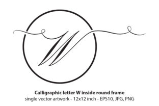 Download Free Calligraphic Letter W Inside Round Frame Graphic By for Cricut Explore, Silhouette and other cutting machines.