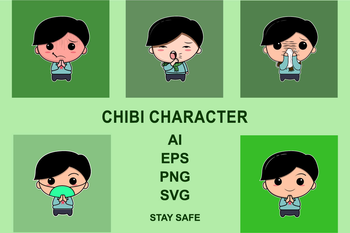 Download Free Character Chibi Staysafe Graphic By Ocs Studio Creative Fabrica for Cricut Explore, Silhouette and other cutting machines.