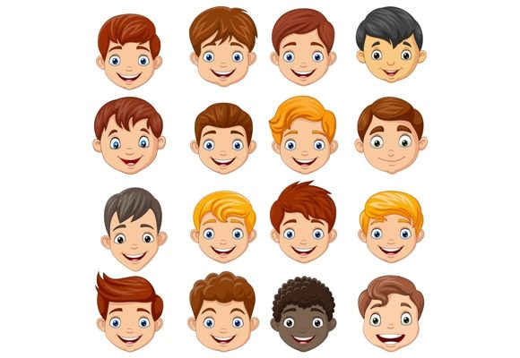 Download Free Children Head Clip Art Set Graphic Graphic By Tigatelusiji for Cricut Explore, Silhouette and other cutting machines.