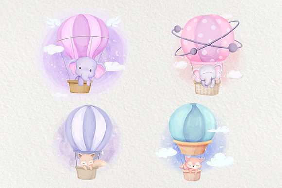 Cute Animal Air Balloon Series Graphic Illustrations By alolieli - Image 2