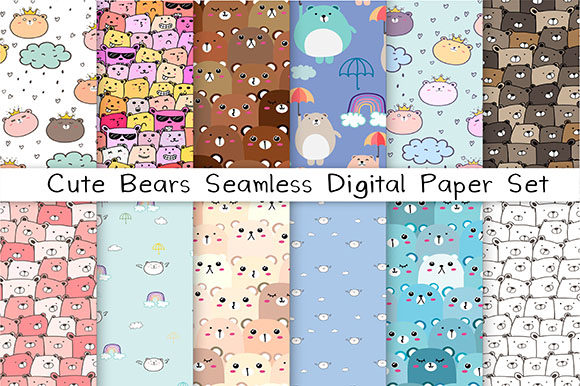 Cute Bear Seamless Digital Paper Set Graphic Patterns By OneyWhyStudio
