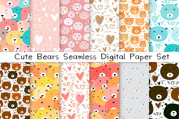Cute Bear Seamless Digital Paper Set Gráfico Moldes Por OneyWhyStudio