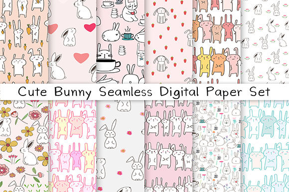 Cute Bunny Seamless Digital Paper Set Graphic Patterns By OneyWhyStudio
