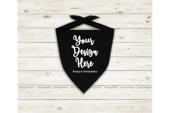 Print on Demand: Dog Bandana Mockup, Pet Black Scarf Graphic Product Mockups By Mockup Station