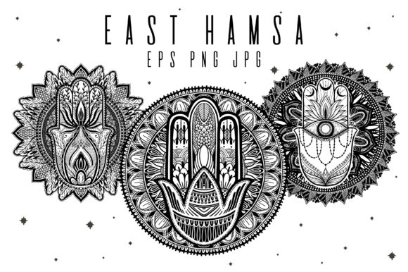 East Hamsa and Mandala Set. Hand Drawn. Graphic Illustrations By arina.ulyasheva