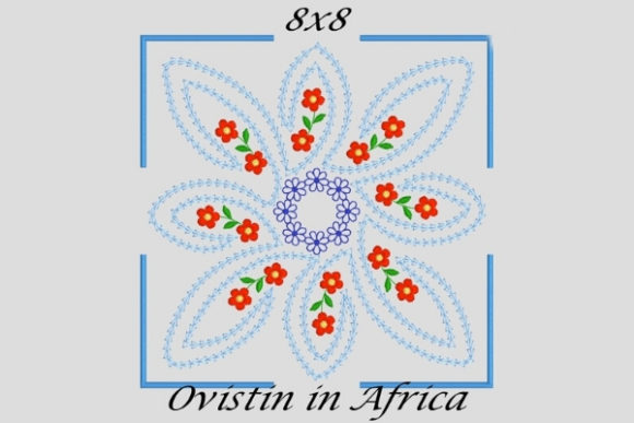 Enchanting Square Twirly Quilt Block and Flower Sewing & Crafts Embroidery Design By Ovistin in Africa