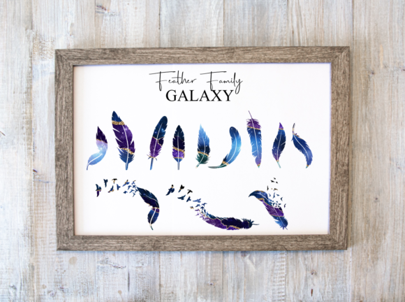 Family Feather Prints - Galaxy Graphic Print Templates By amberayse
