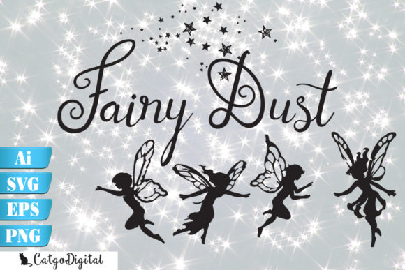 Download Free Fairy Silhouettes With Words Fairy Dust Graphic By Catgodigital for Cricut Explore, Silhouette and other cutting machines.