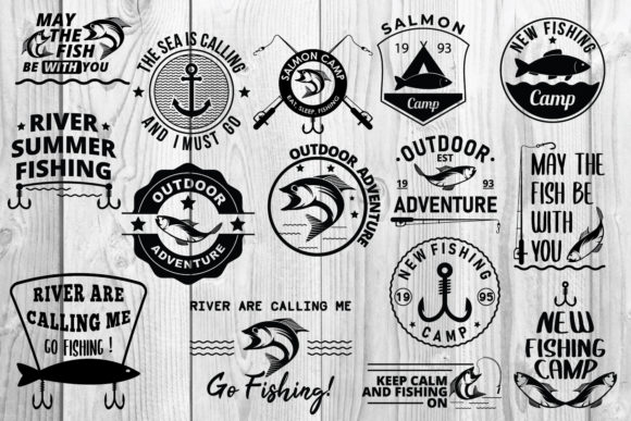 Download Free Fishing Set Badge Bundle Graphic By Damasyp Creative Fabrica for Cricut Explore, Silhouette and other cutting machines.