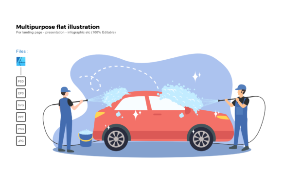 Download Free Flat Illustration Car Wash Service Graphic By Rivatxfz for Cricut Explore, Silhouette and other cutting machines.