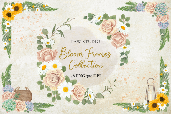 Print on Demand: Floral Frame Border Wreath. Boho Clipart Graphic Illustrations By PawStudio