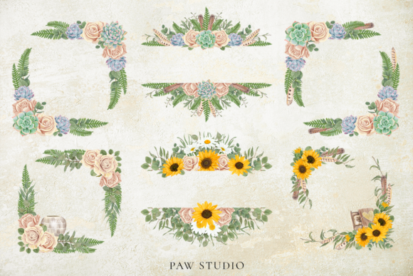 Floral Frame Border Wreath. Boho Clipart Graphic Preview
