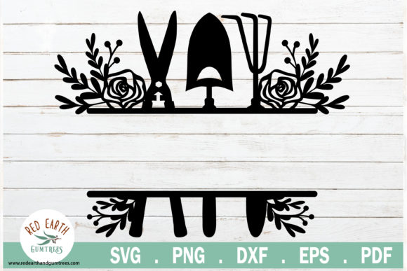 Download Free Floral Garden Tools Split Monogram Frame Graphic By Redearth And for Cricut Explore, Silhouette and other cutting machines.