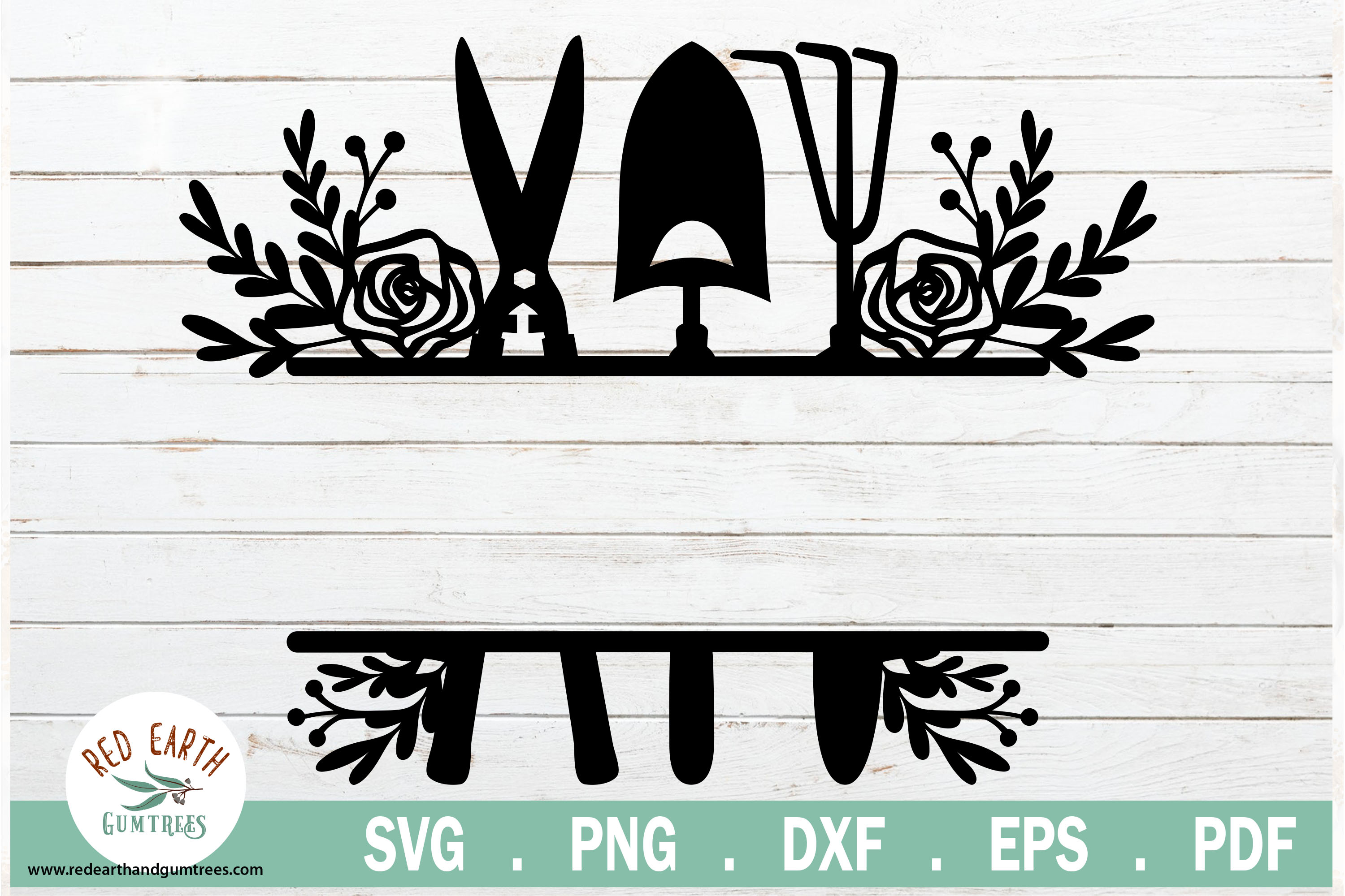 Floral Garden Tools Split Monogram Frame Graphic By Redearth And