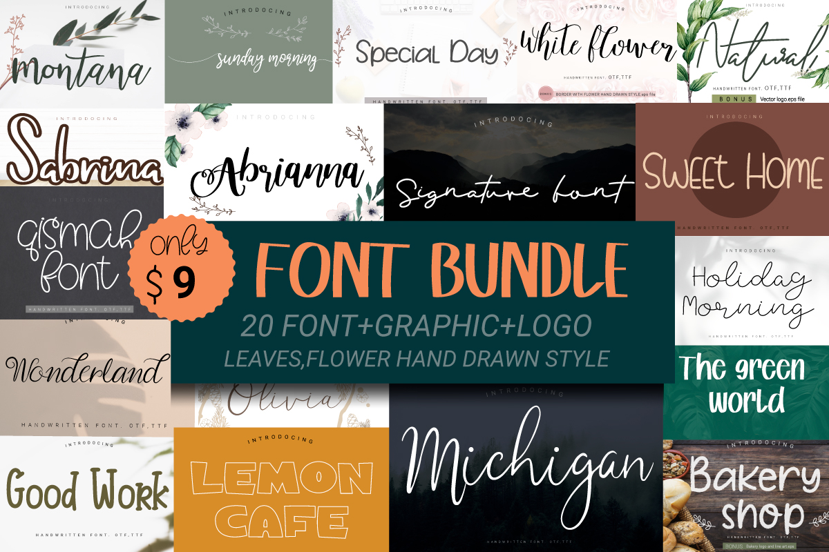 Download Free Font Bundle Bundle Creative Fabrica for Cricut Explore, Silhouette and other cutting machines.