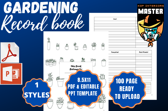 Print on Demand: Gardening Record Book Graphic KDP Interiors By KDP_Interiors_Master - Image 1