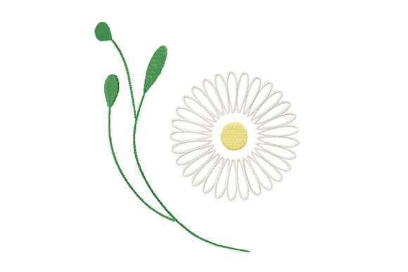 Print on Demand: Gentle Chamomile Flower Single Flowers & Plants Embroidery Design By EmbArt