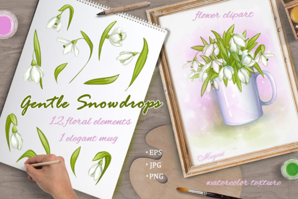 Gentle Snowdrops Graphic Illustrations By Maycat