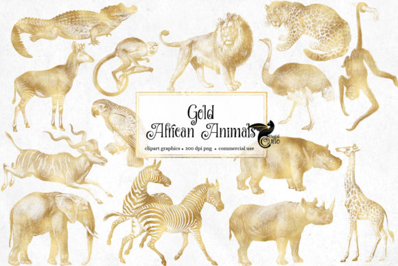 Print on Demand: Gold African Animals Clipart Graphic Illustrations By Digital Curio