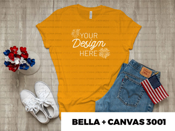 Download Free Gold Bella Canvas 3001 T Shirt Mockup Graphic By for Cricut Explore, Silhouette and other cutting machines.
