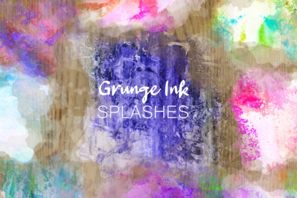 Print on Demand: Grunge Ink Splashes Textures Backdrops Graphic Backgrounds By Prawny - Image 1