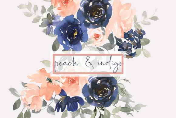 Indigo & Peach Watercolor Floral Clipart Grafik Illustrationen von Patishop Art