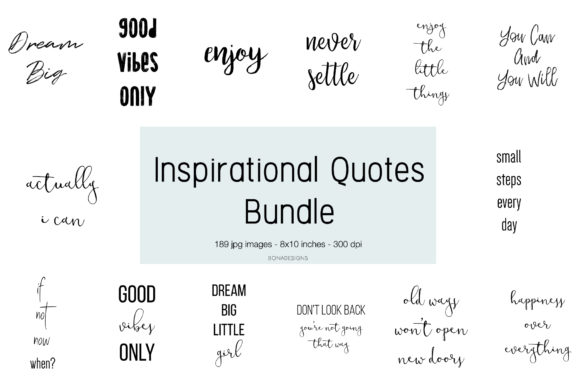 Inspirational Quotes Bundle Graphic Backgrounds By BonaDesigns