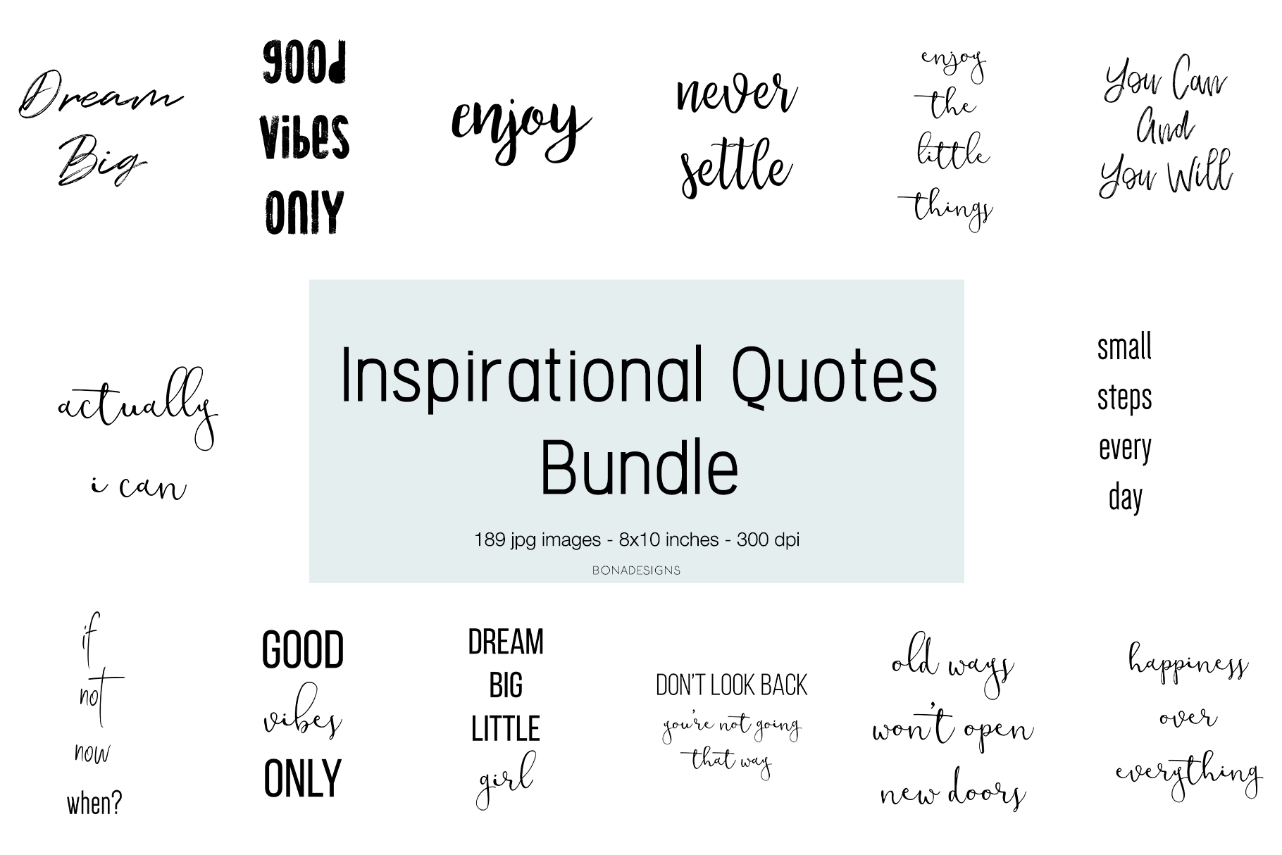 Download Free Inspirational Quotes Bundle Graphic By Bonadesigns Creative for Cricut Explore, Silhouette and other cutting machines.