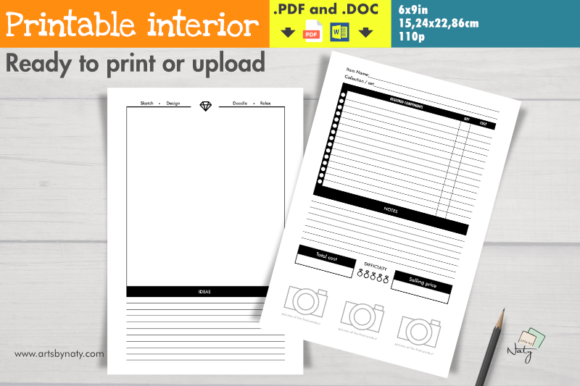 Print on Demand: Jewelry Making Crafter Printable Planner Graphic KDP Interiors By artsbynaty