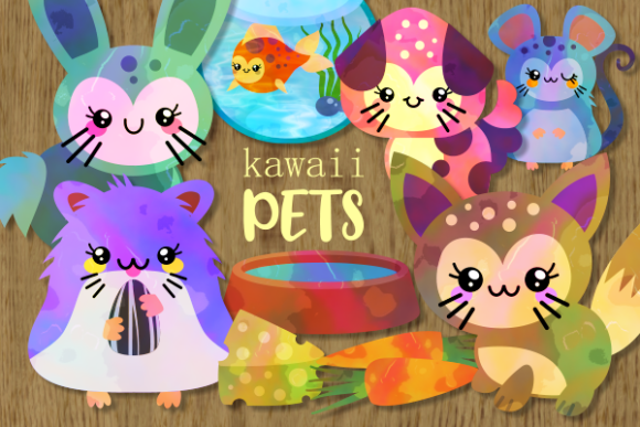Download Free Kawaii Pets Cute Adorable Furry Animals Graphic By Prawny for Cricut Explore, Silhouette and other cutting machines.