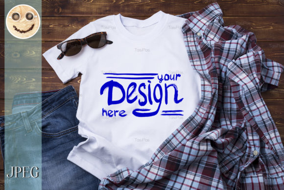 Print on Demand: Men's T-shirt Mockup with Checkered Shirt Graphic Product Mockups By TasiPas