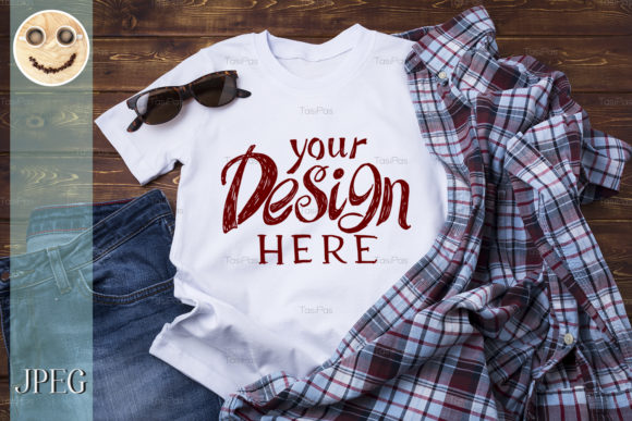 Print on Demand: Men's T-shirt Mockup with Checkered Shirt Graphic Product Mockups By TasiPas - Image 2
