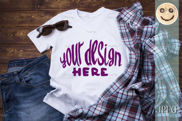Print on Demand: Men's T-shirt Mockup with Checkered Shirt Graphic Product Mockups By TasiPas - Image 3