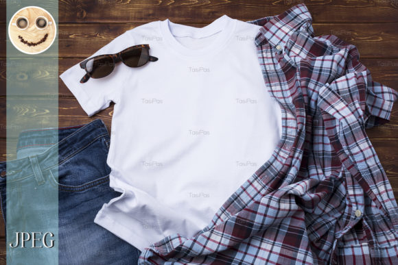 Print on Demand: Men's T-shirt Mockup with Checkered Shirt Graphic Product Mockups By TasiPas - Image 4