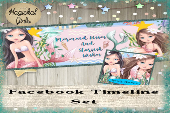 Download Free Mermaid 1 Facebook Timeline Set Graphic By Magickal Girls for Cricut Explore, Silhouette and other cutting machines.