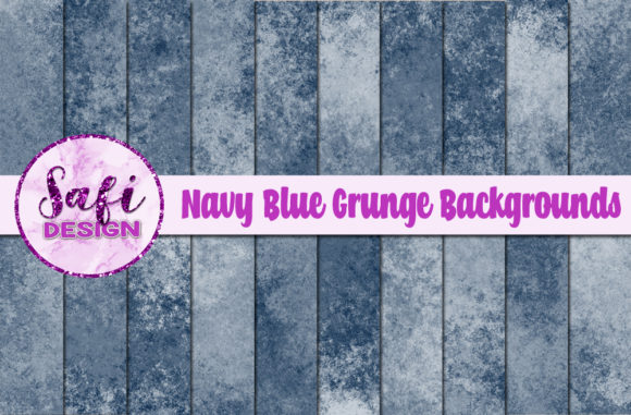Print on Demand: Navy Blue Grunge Backgrounds Graphic Backgrounds By Safi Designs