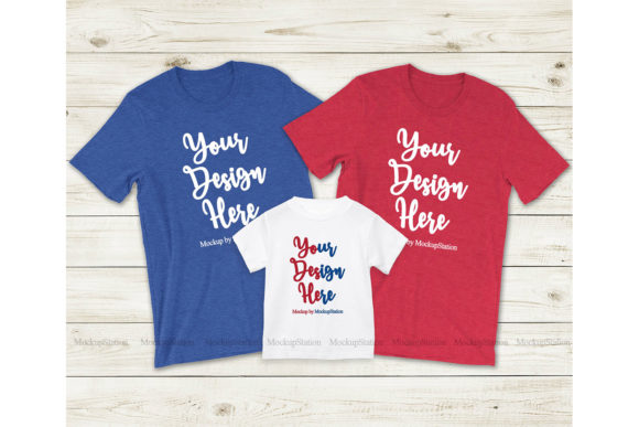 Print on Demand: Patriotic Matching Family T-Shirt Mockup Graphic Product Mockups By Mockup Station