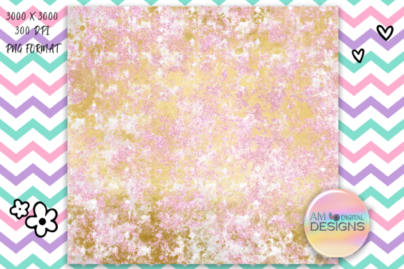 Print on Demand: Pink and Gold Glitter Background/Texture Graphic Backgrounds By AM Digital Designs