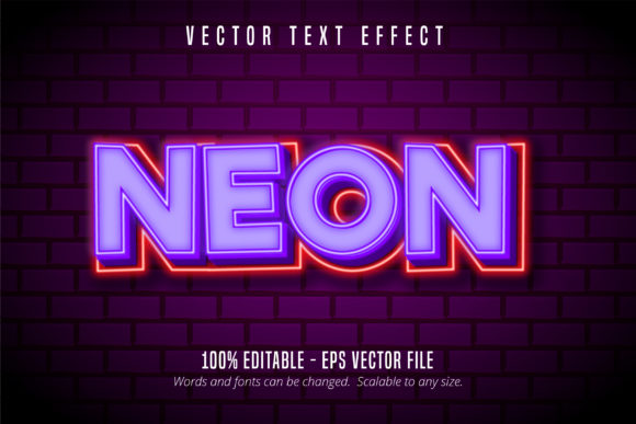 Print on Demand: Purple Neon Style Editable Text Effect Graphic Graphic Templates By Mustafa Bekşen