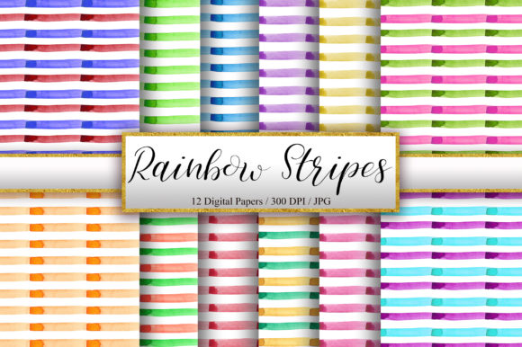 Rainbow Stripes Watercolor Background Graphic Backgrounds By PinkPearly