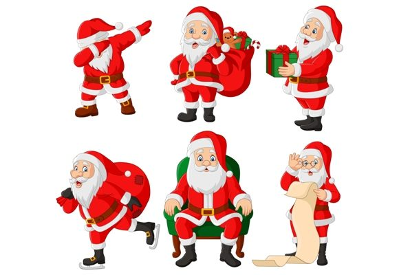 Download Free Santa Claus Clip Art Set Graphic Graphic By Tigatelusiji for Cricut Explore, Silhouette and other cutting machines.