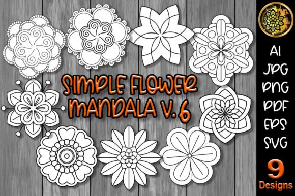 Print on Demand: Simple Flower Mandala Set-6 Graphic Illustrations By V-Design Creator