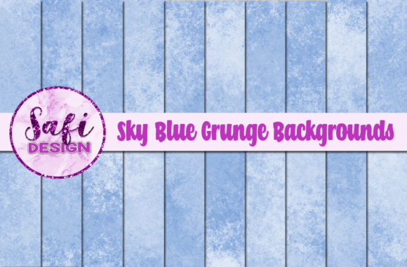 Print on Demand: Sky Blue Grunge Backgrounds Graphic Backgrounds By Safi Designs