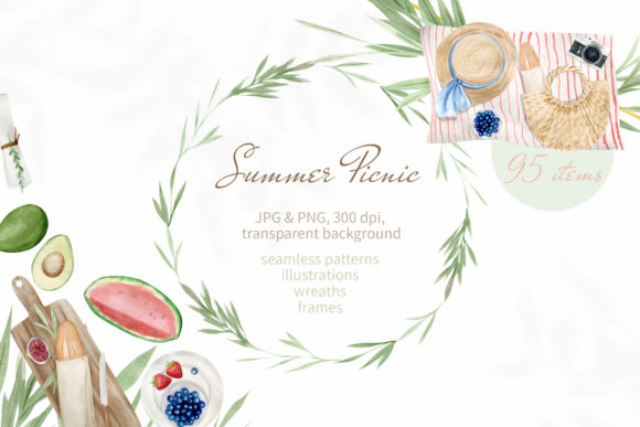 Print on Demand: Summer Picnic Watercolor Clipart Set   Graphic Illustrations By Natalia Arkusha