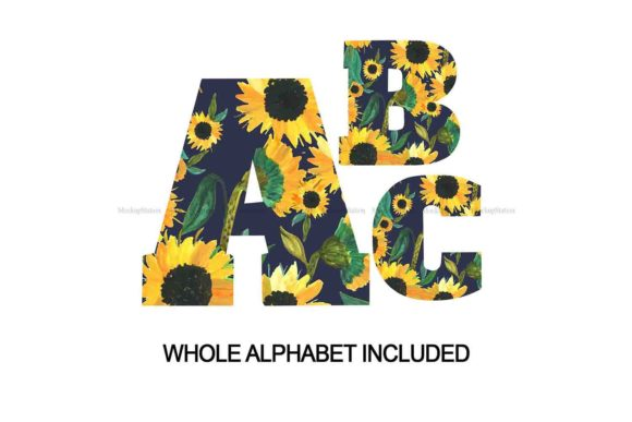 Print on Demand: Sunflower Alphabet | Letters Numbers Graphic Crafts By Mockup Station