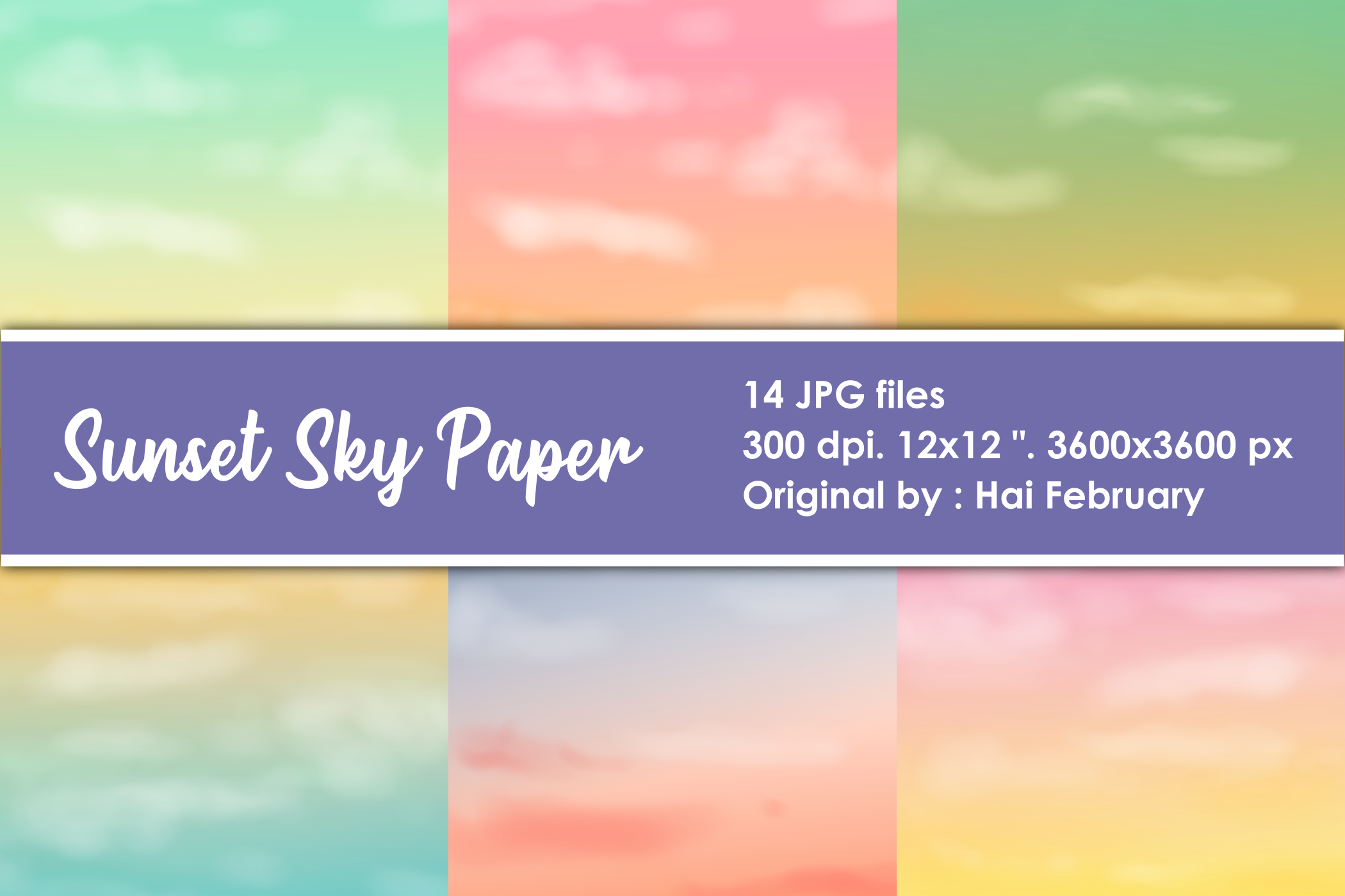 Download Free Sunset Sky Background Digital Paper Graphic By Haifebruary for Cricut Explore, Silhouette and other cutting machines.