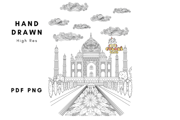 Taj Mahal Coloring Page Handdrawn Graphic Coloring Pages & Books Adults By CafeColoreClub