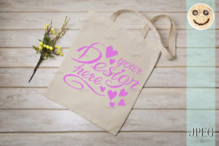 Download Free Tote Bag Mockup With Yellow Branch Graphic By Tasipas for Cricut Explore, Silhouette and other cutting machines.