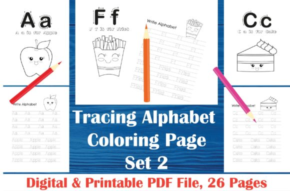 Tracing Alphabet Coloring Book Set 2 A Graphic By Midasstudio